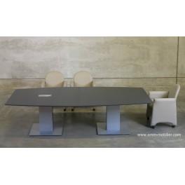 Table de réunion tonneau finition Chêne gris
