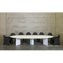 Table de réunion elliptique finition Chêne blanc