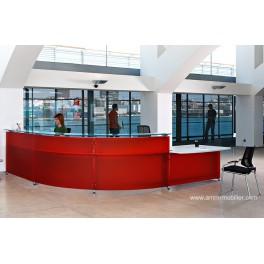 Banque d'accueil Informa finition vinyl fraise