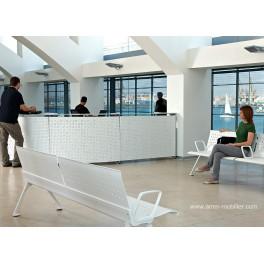 Banque d'accueil Informa finition métal blanc