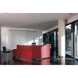 Banque d'accueil Informa finition métal rouge