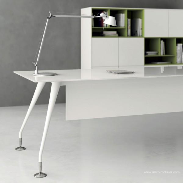 bureau de direction enosi finition verre blanc. Black Bedroom Furniture Sets. Home Design Ideas