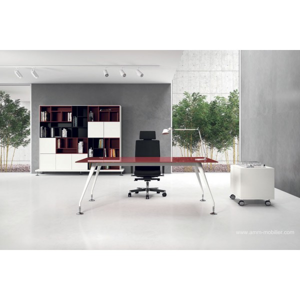 Bureau de direction enosi finition verre rouge par las - Bureau en verre rouge ...