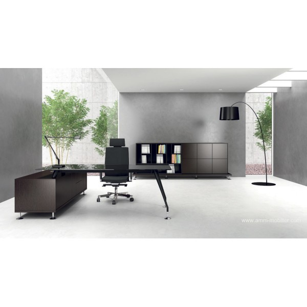 Bureau de direction enosi finition verre noir par las for Bureau verre noir