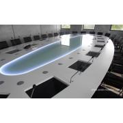 Table de réunion finition chêne teinté gris