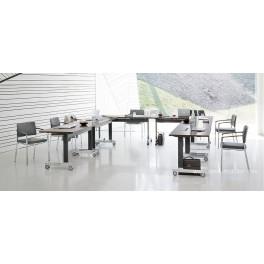 Table de réunion N-TABLE plateau façon Wengé