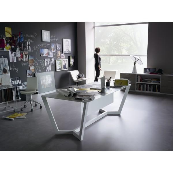 bureau de direction lorca finition laqu blanc. Black Bedroom Furniture Sets. Home Design Ideas
