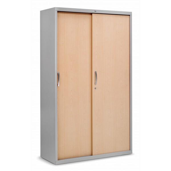 Armoire m tal pv amt plus avec portes coulissantes bois - Armoire avec portes coulissantes ...