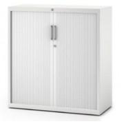 Armoire métal PV Base portes rideaux blanches