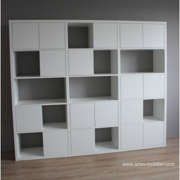 armoire sur mesure cubes finition blanc mat n 2. Black Bedroom Furniture Sets. Home Design Ideas
