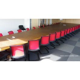 Table de réunion ou conférence rectangulaire sur mesure finition merisier n°5