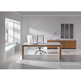 bureau de direction belesa finition laqu blanc et ch ne clair. Black Bedroom Furniture Sets. Home Design Ideas