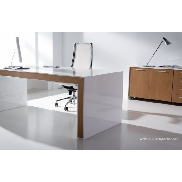 Bureau chene et blanc meuble indien Lepolyglotte