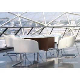 Table de réunion ronde Prima Sinfonia finition verre laqué blanc et wengé