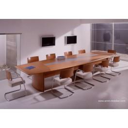 Table de réunion Numen finition placage Mukali bois wengé