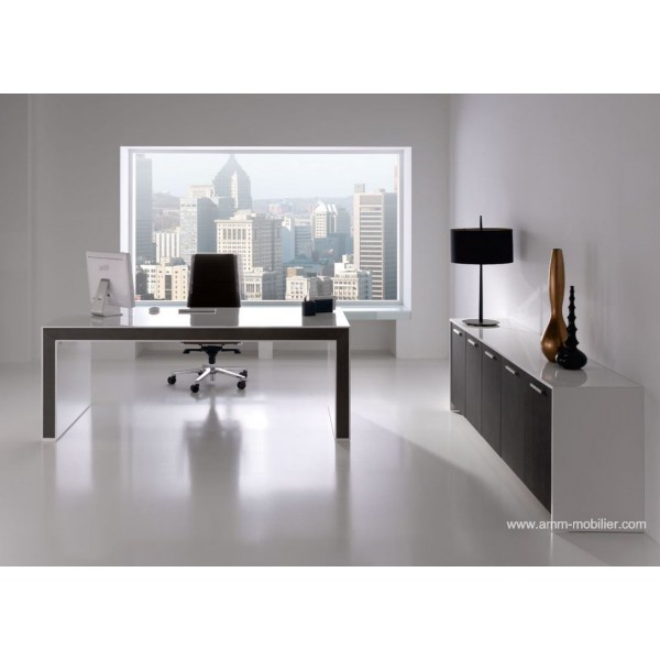 bureau de direction belesa finition laqu blanc et ch ne weng. Black Bedroom Furniture Sets. Home Design Ideas