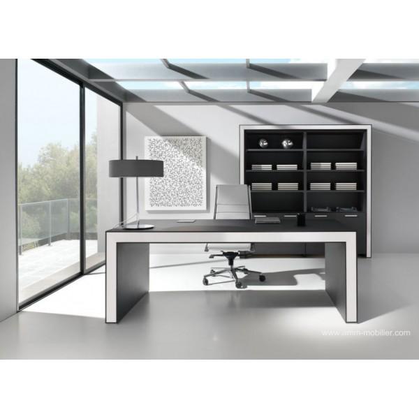 bureau de direction belesa finition ch ne noir et blanc. Black Bedroom Furniture Sets. Home Design Ideas