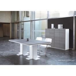 Table de réunion Urbana finition teack gris cendré