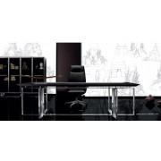 Bureau de direction Bernini droit finition Ebene et cuir noir
