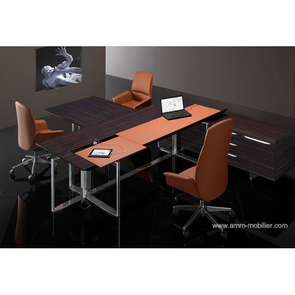 bureau de direction bernini avec retour finition ebene et. Black Bedroom Furniture Sets. Home Design Ideas