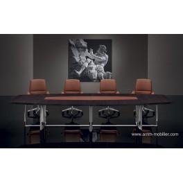 Table de réunion éliptique Bernini finition Ebene et cuir cognac