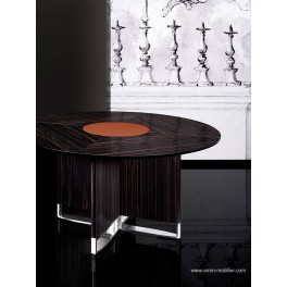 Table de réunion ronde Bernini finition Ebene et cuir cognac