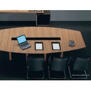 Table de réunion Rho finition zebrano et verre noir