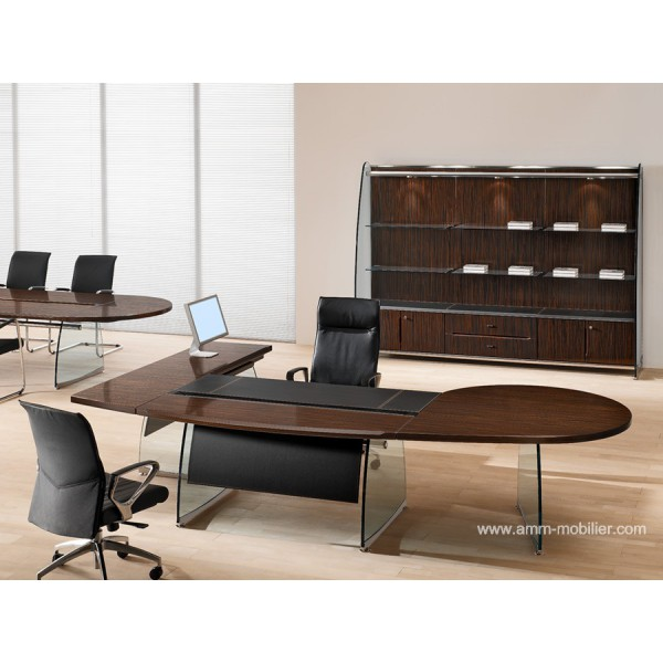 bureau de direction flute finition ebene avec retour rond. Black Bedroom Furniture Sets. Home Design Ideas