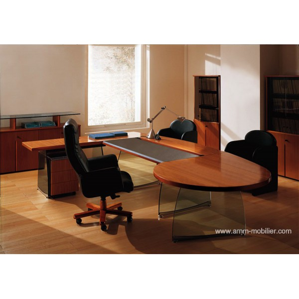 Bureau de direction flute finition noyer avec retour rond for Bureau de direction