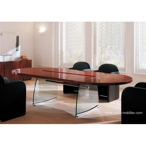 table de r union ovale flute finition acajou honduras. Black Bedroom Furniture Sets. Home Design Ideas