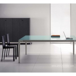 Table de réunion carrée Hydra finition verre