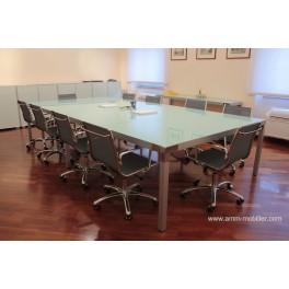 Table de réunion rectangulaire Hydra finition verre