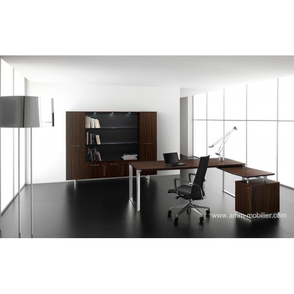 bureau de direction droit dhow finition ebene avec retour. Black Bedroom Furniture Sets. Home Design Ideas
