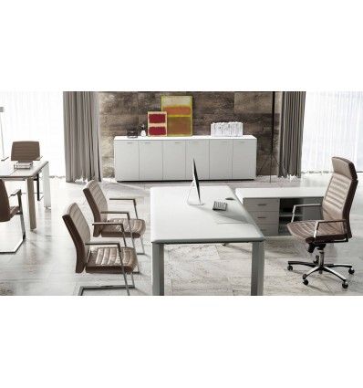 Bureau de direction Iulio finition bois blanc
