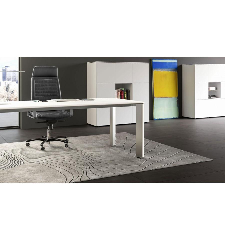 bureau de direction iulio finition bois blanc. Black Bedroom Furniture Sets. Home Design Ideas