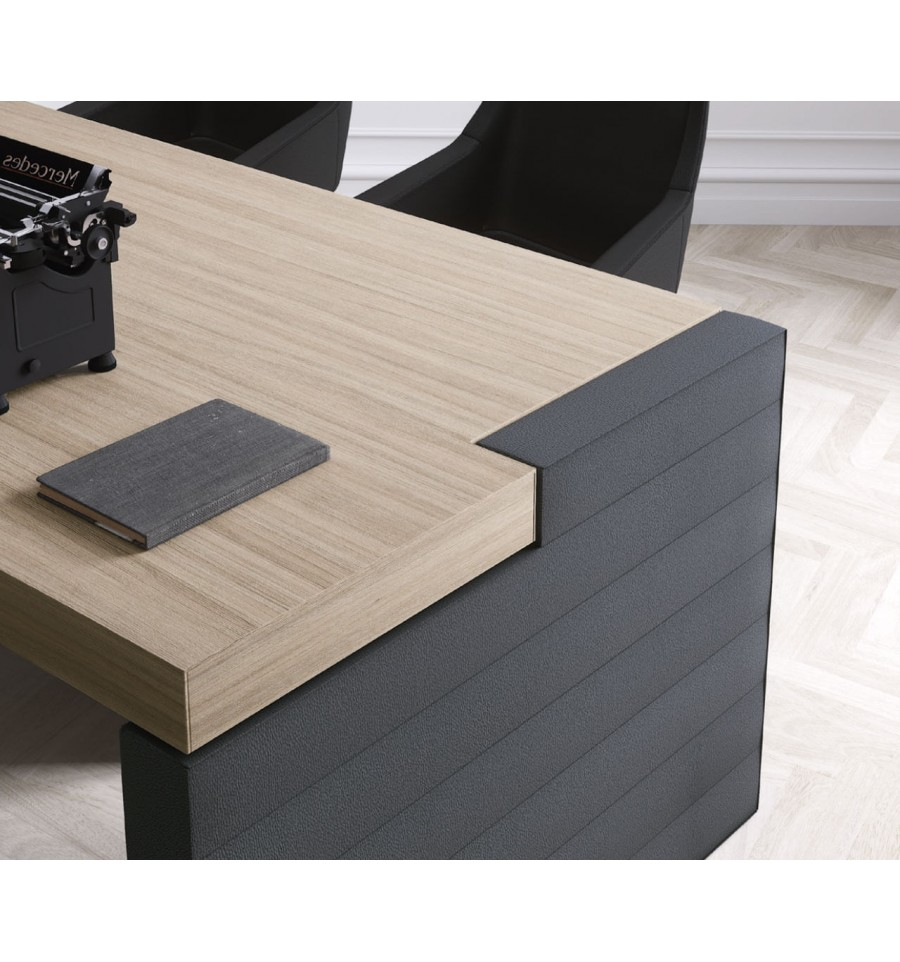 bureau de direction jera finition bois orme gris. Black Bedroom Furniture Sets. Home Design Ideas