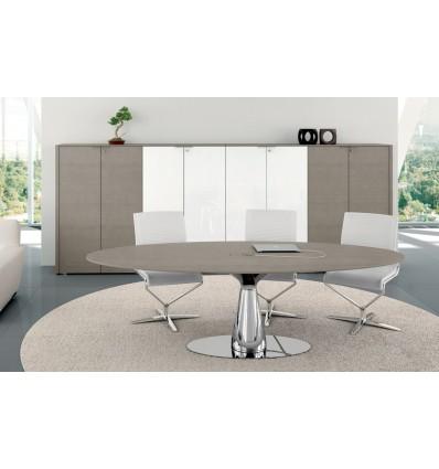 Table de réunion ovale Metar en chêne gris