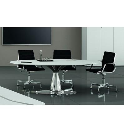 Table de réunion ovale Metar en chêne laqué blanc