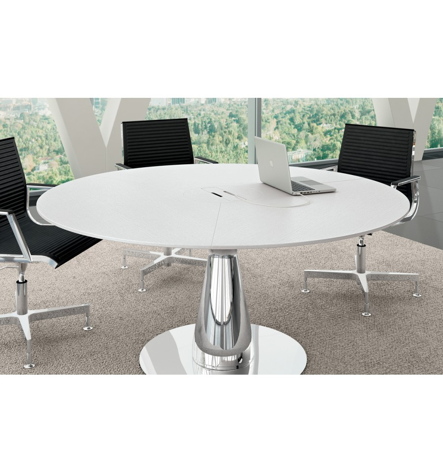 Table de r union ronde metar en ch ne laqu blanc for Table ronde blanc