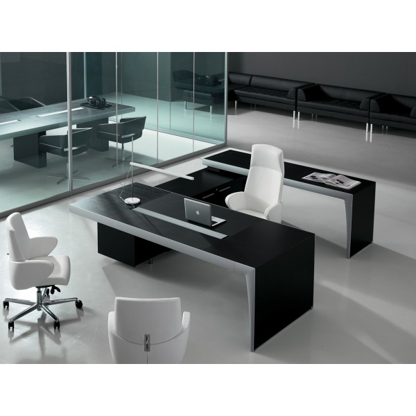 bureau de direction cx noir et aluminium. Black Bedroom Furniture Sets. Home Design Ideas