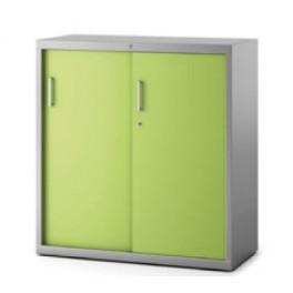 Armoire métal PV-AMT Plus avec portes coulissantes vertes