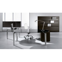 Bureau de direction ovale MUST finition verre noir