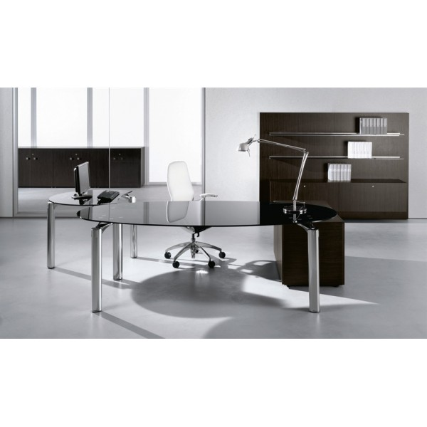 Bureau verre noir bureau plateau verre noir oskar achat for Bureau 160x70
