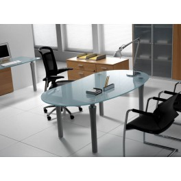 Bureau de direction ovale Syntesi finition verre