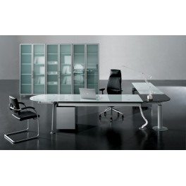 bureau de direction tiper en verre blanc. Black Bedroom Furniture Sets. Home Design Ideas