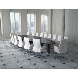 Table de conférence elliptique gamme Bois, placage chêne tabac