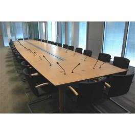 Table de conférence tonneau gamme Bois, placage chêne naturel